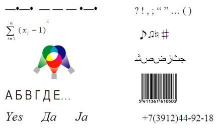 Рис. 13. Примеры систем кодирования. Любой способ кодирования характеризуется наличием основы (алфавит, спектр цветности, система координат, основание системы счисления…) и правил конструирования информационных образов на этой основе. 4.1. Кодирование чис