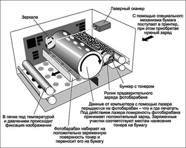 Рис. 33. Устройство лазерного принтера.