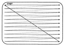 Рис 14.1. Формирование растра на экране монитора.