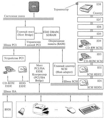 Шина SCSI с подключенными устройствами
